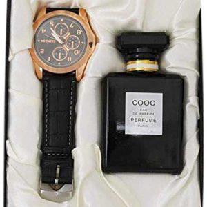 Round watch and perfume